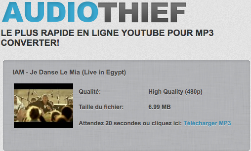 Récuperer une video Youtube en MP3