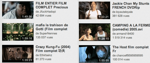 Des films complets sur Youtube