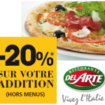 -20% sur votre addition dans les restaurants Pizza Del Arte