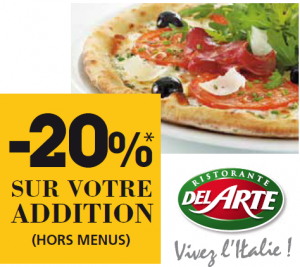 Coupon de réduction pour les restaurants Pizza Del Arte