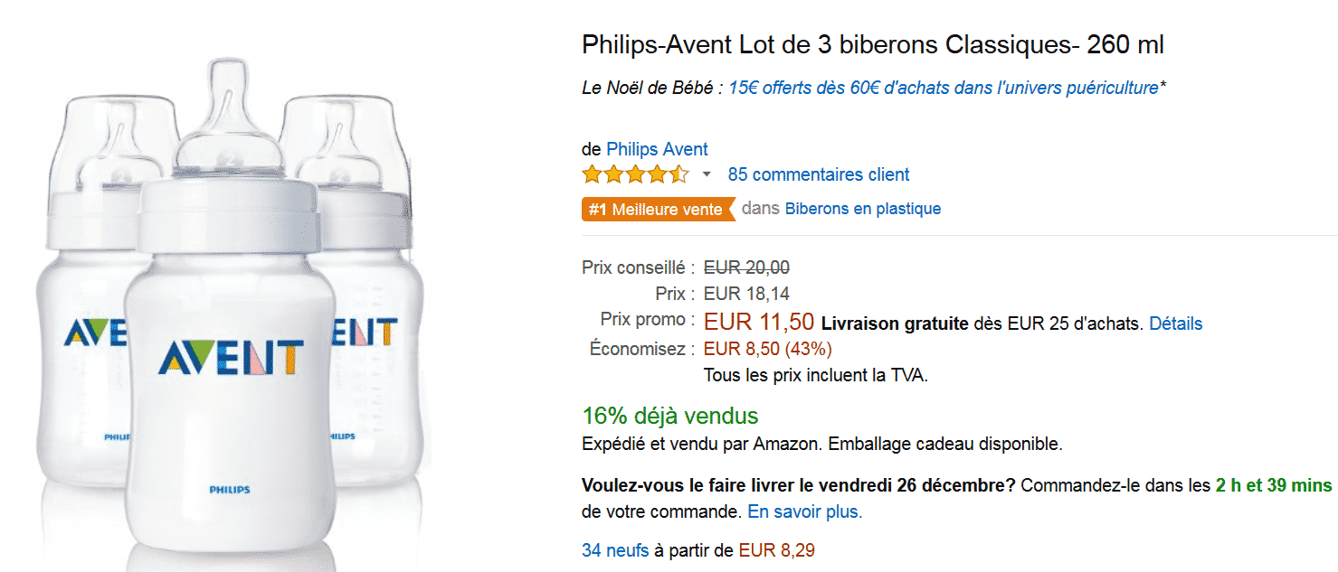 lot de 3 biberons avent en promotion