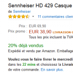 44% de réduction sur le casque audio Sennheiser HD 429