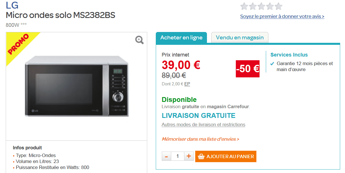 micro ondes lg 39 50 sur carrefour le bon plan. Black Bedroom Furniture Sets. Home Design Ideas