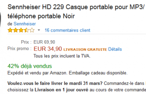 51% de réduction sur le casque audio Sennheiser HD 229