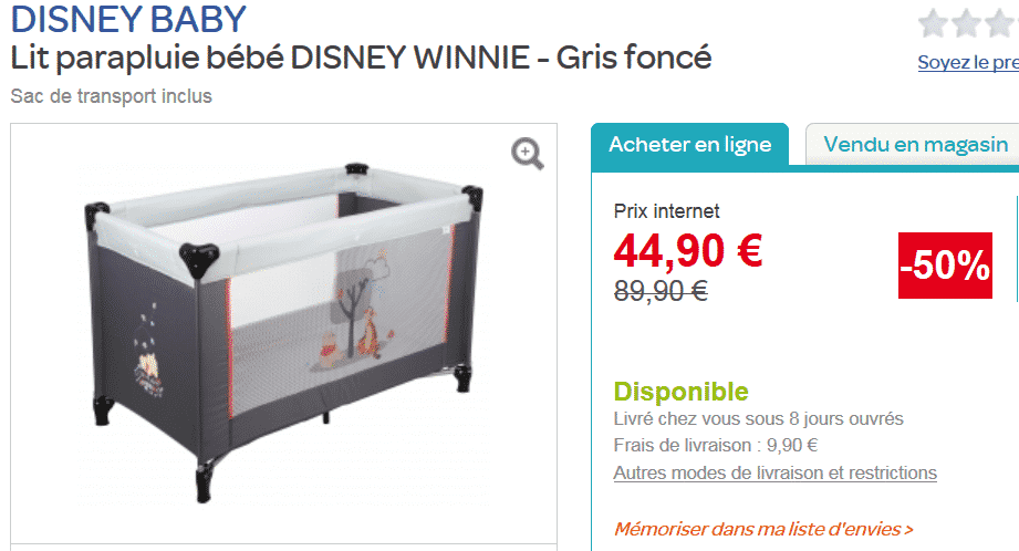 50 sur un lit parapluie disney vendu 44 90 chez carrefour le bon plan. Black Bedroom Furniture Sets. Home Design Ideas