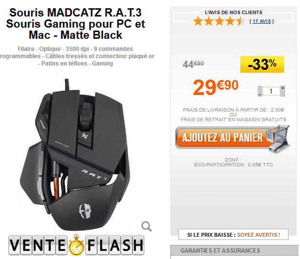 Vente Flash GrosBill : -33% sur la souris gaming MADCATZ R.A.T.3 à 29,90 €
