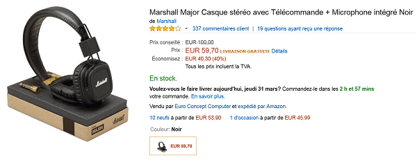Casque Marshall Major en promotion