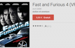 Le film Fast and Furious 4 gratuit sur Google Play