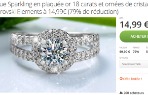 Bague Swarovski Elements à 14,99 € au lieu de 69,90 € (-79%)