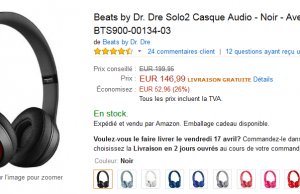 Casque audio Beats by Dr. Dre Solo 2 à 146,99 € sur Amazon