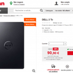 Disque dur externe Dell 2 To (2000 go)  à 90,90 € (-38%)