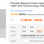 iPhone 5C reconditionné 16 Go à 209 € et 32 Go à 238 €