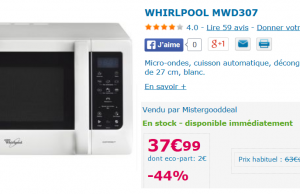 Micro ondes Whirlpool à 37,99 € sur MisterGoodDeal