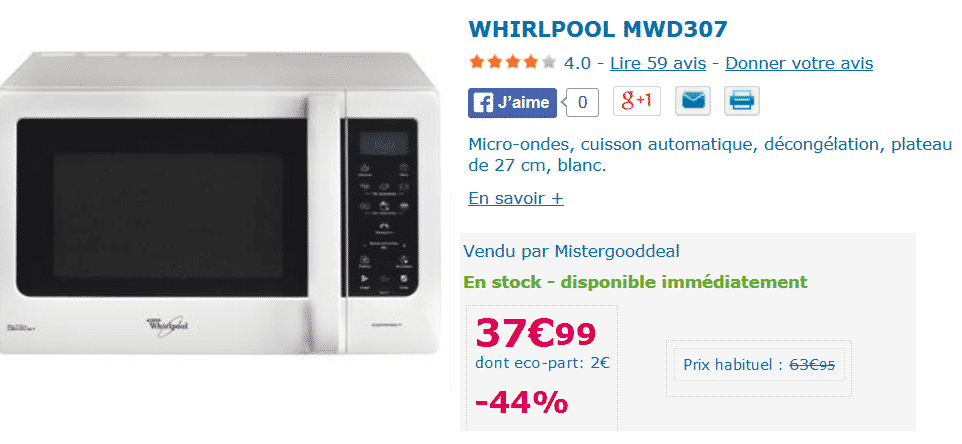 micro ondes whirlpool 37 99 sur mistergooddeal. Black Bedroom Furniture Sets. Home Design Ideas