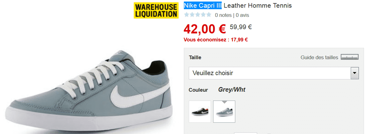 Bon plan sur baskets Nike capri 3