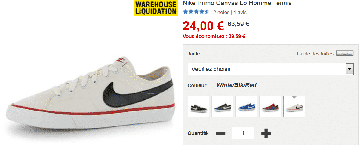 Bon plan sur baskets Nike primo canvas