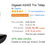 [Black Friday] Trio téléphones fixe Gigaset AS405 à 39,90 € (-43%)