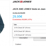 Veste en jean Jack and Jones à 29,95 € au lieu de 89,95 € (-67%)