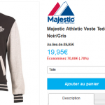 Veste Majestic Athletic Los Angeles Kings à 19,95 € au lieu de 89,95 € (-78%)