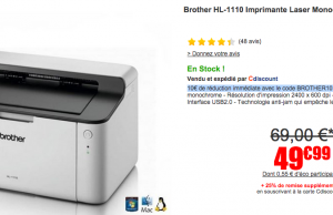 Imprimante Laser Brother HL-1110 à 39,99 €