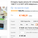 iPhone 5C reconditionné à 149 €