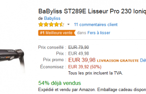 Vente flash Amazon : -50% sur le lisseur Babyliss Pro 230 à 39,98 €