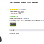 Basket Nike Son of Force à 39,99 € sur Cdiscount