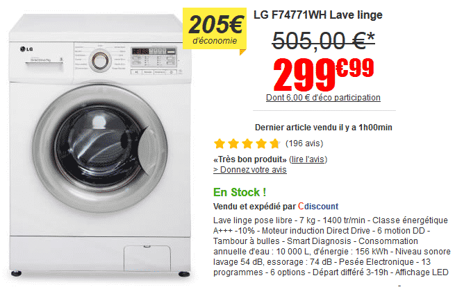 lave linge lg f74771wh prix imbattable sur cdiscount le bon plan. Black Bedroom Furniture Sets. Home Design Ideas
