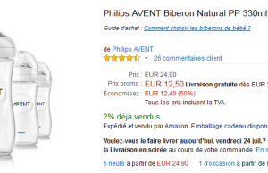 3 Biberons Philips Avent 330 ml à 12,50 €