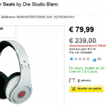 Casque Monster Beats by Dre Studio Blanc à 79,99 € au lieu de 239 €