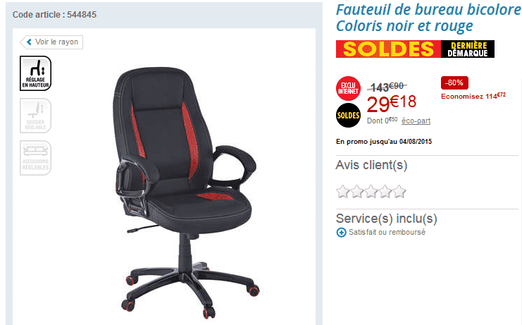fauteuil de bureau 29 18 au lieu de 143 90 80. Black Bedroom Furniture Sets. Home Design Ideas