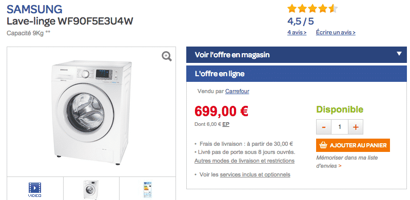 lave linge haut de gamme samsung eco bubble 399 au lieu de 699 300 le bon plan. Black Bedroom Furniture Sets. Home Design Ideas