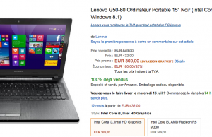 Ordinateur Portable Lenovo G50-80  à 369 € au lieu de 549 € (-33%) sur Amazon