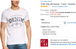 T-shirt Tom Tailor à 4,98 € et Jack Jones à 8,40 € sur Amazon