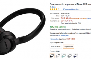 Casque audio Bose à 99 € au lieu de 149 € – Premium Day Amazon
