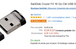 Mini clé USB SanDisk 16 go à 6,07 € sur Amazon