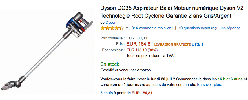 aspirateur dyson dc35 184 au lieu de 300 sur amazon. Black Bedroom Furniture Sets. Home Design Ideas