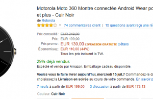 Montre connecté Motorola 360 à  139 € au lieu de 249 € – Premium Day Amazon