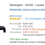 Lisseur Remington à 15,50 € au lieu de 44,99 € (-61%) sur Amazon