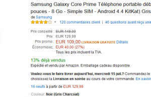 Samsung Galaxy Core à 109 € – Premium Day Amazon