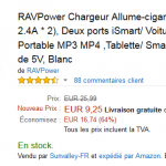 Chargeur allume cigare double RAVPower à 9,25 €au lieu de 25,99 € sur Amazon