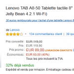 L'excellente tablette Android Lenovo A8-50 à seulement 59 € – Premium Day Amazon
