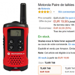 Talkies-Walkies Motorola T40 en promotion à 19,90 € au lieu de 41,90 €