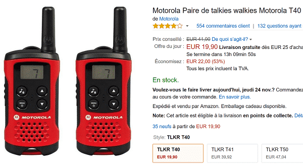 talkies walkies motorola pas cher sur amazon 53. Black Bedroom Furniture Sets. Home Design Ideas