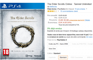 Jeu The Elder Scrolls Online sur PS4 et Xbox One à 35 € et 29,90 € sur PC – Premium Day Amazon