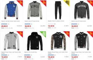 Vente flash et promotion sur jogging, teddy, veste, short Raiders, New York Yankees, Red Sox, Kings…