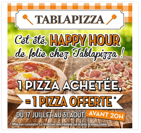 Restaurant TablaPizza : 1 pizza acheté = 1 pizza offerte via un coupon internet gratuit