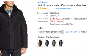 Vente Flash Amazon : veste Jack & Jones à 35,97 € (-40%)
