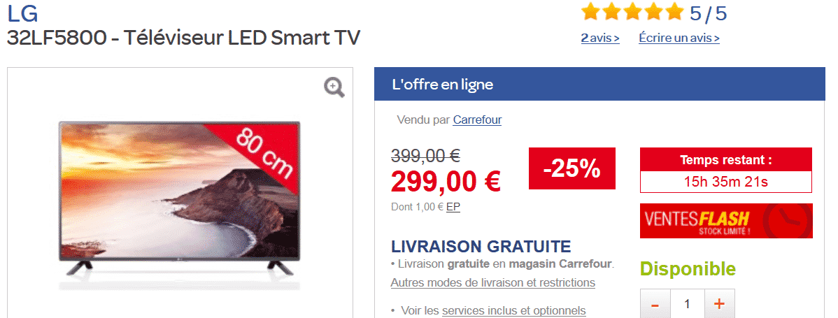 vente flash carrefour t l viseur led lg 32lf5800 smart tv 80cm 299 au lieu de 399 le. Black Bedroom Furniture Sets. Home Design Ideas