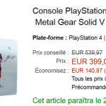 Amazon : PS4 1To + Fifa 16 + Metal Gear Solid V à 399 € au lieu de 539 €